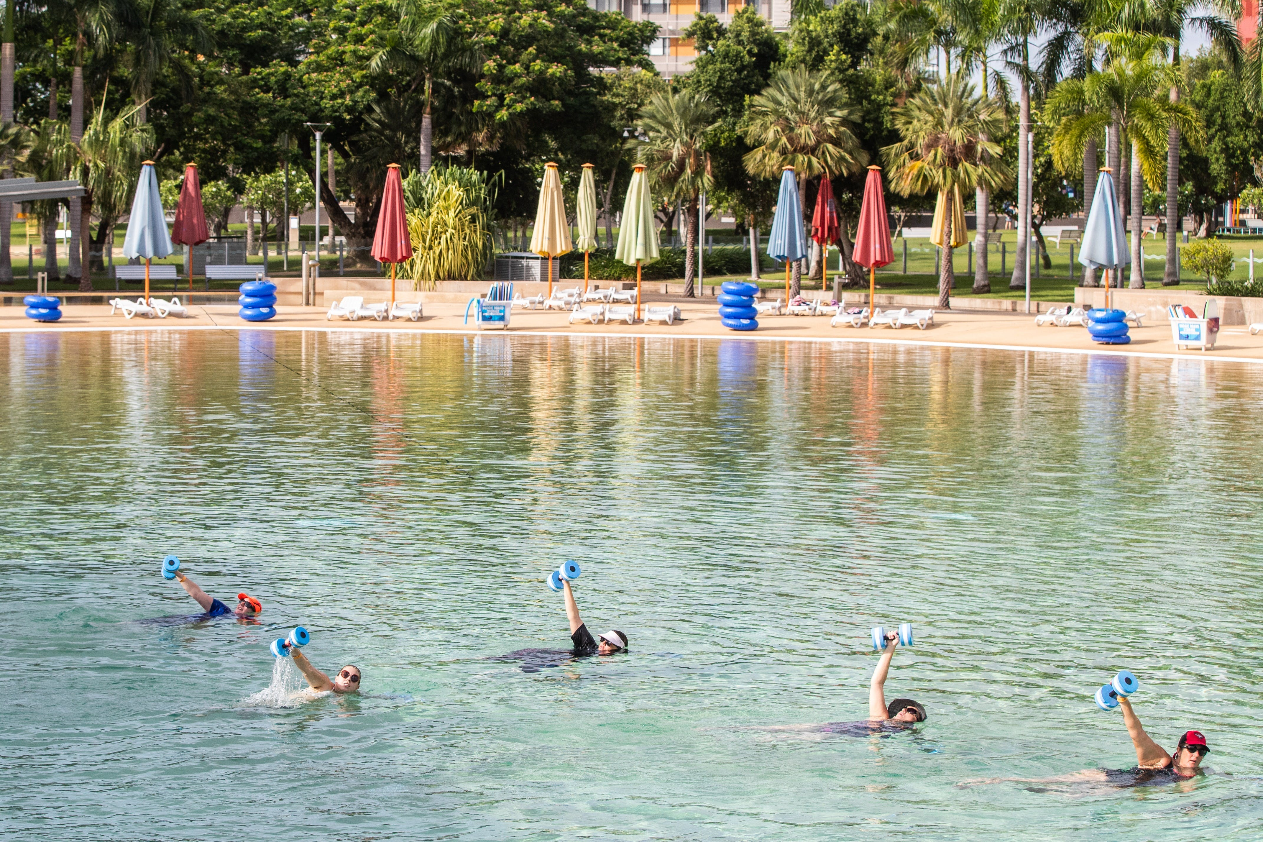 Aqua fitness in the Wave Lagoon - Accommodation Sunshine Coast