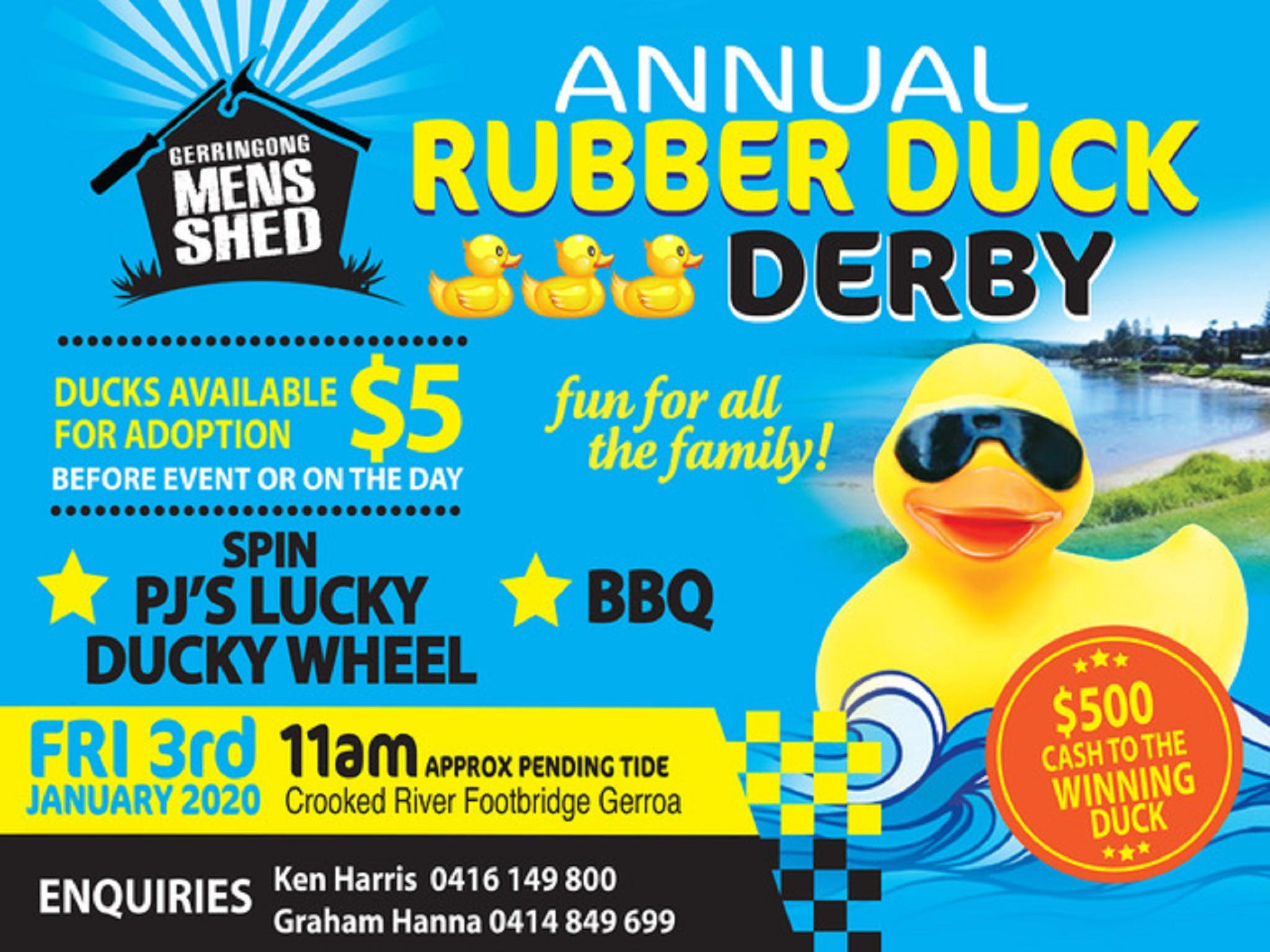 Gerringong Mens Shed Annual Duck Derby - Accommodation Sunshine Coast